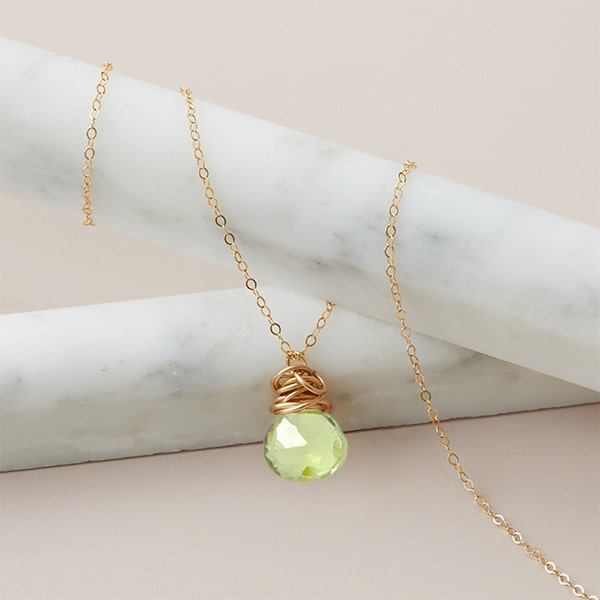 Trista style August birthstone necklace set in peridot and gold-fill by Erin Gallagher
