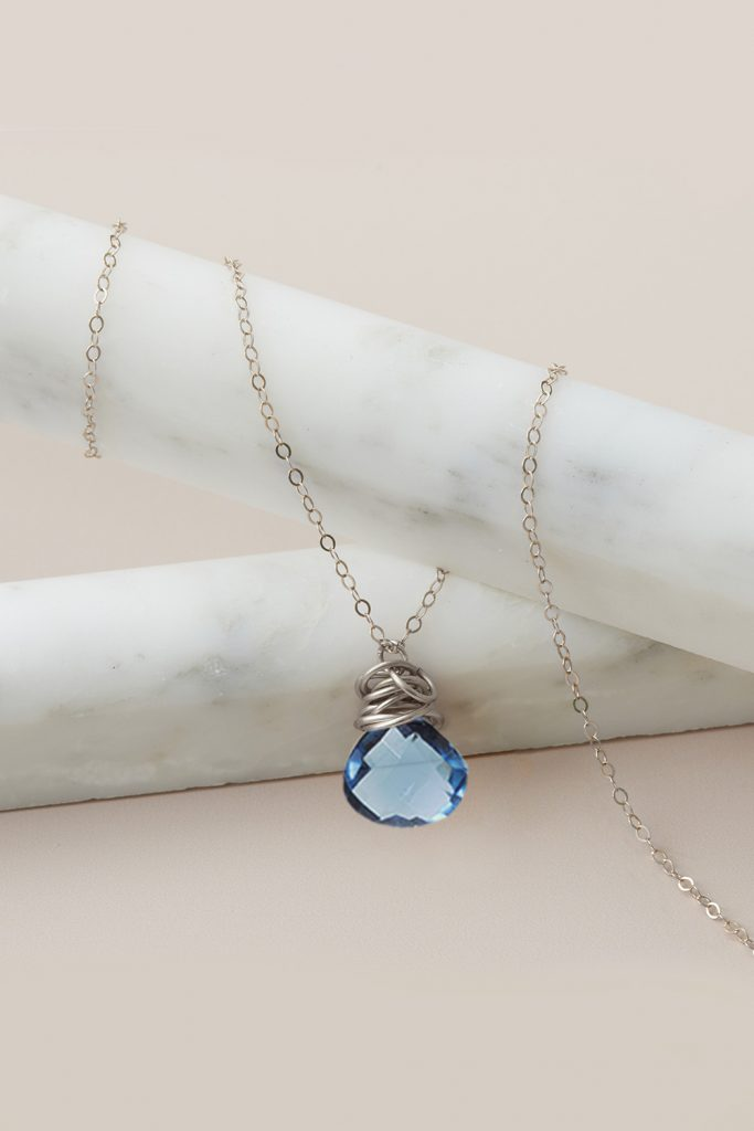 london blue topaz necklace in silver by erin gallagher