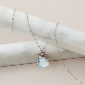 Trista style December birthstone necklace in swiss blue topaz set in sterling by Erin Gallagher