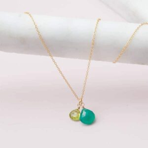 This two stone pendant chrysoprase neckalce in gold is a favorite piece of chrysoprase jewelry - a perfect May birthstone gift.