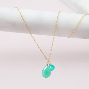 This Violet 2 stone chrysoprase neckalce in gold is a favorite piece of chrysoprase jewelry - a perfect May birthstone gift.