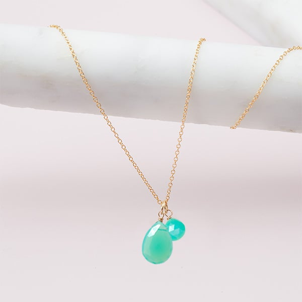 chrysoprase necklace in gold by erin gallagher