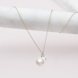 pearl pendant necklace in silver by erin gallagher