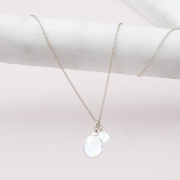 white topaz necklace in silver by erin gallagher